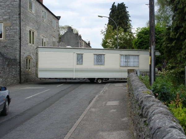 Photo of static caravan blocking road